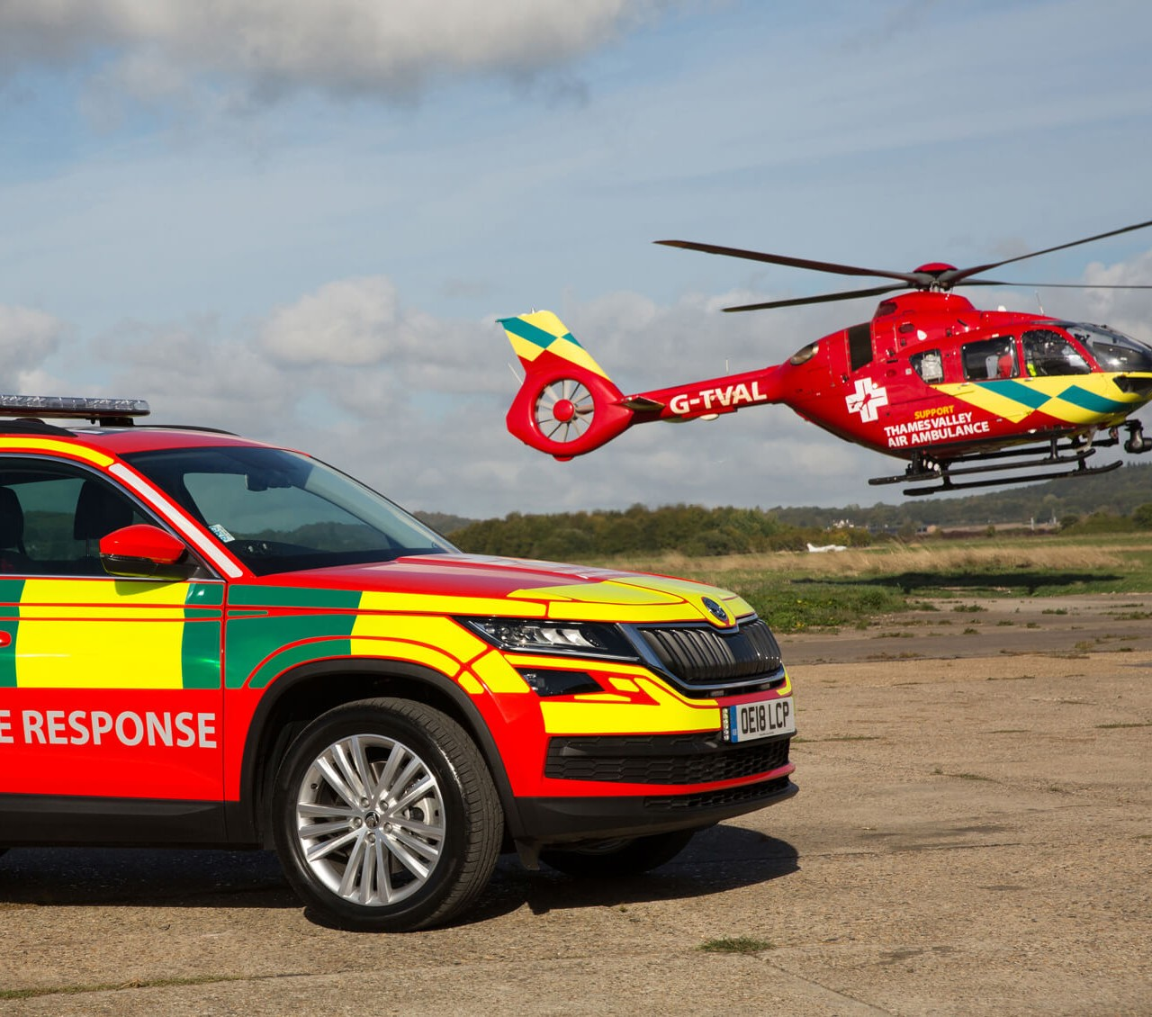 critical care response car and helicopter at Benson